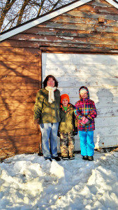 Joyce DeWeese (left) was rescued by Dillon Smith, 6 (center), and Emma Smith, 9 (right), earlier this week after getting trapped in her shed.