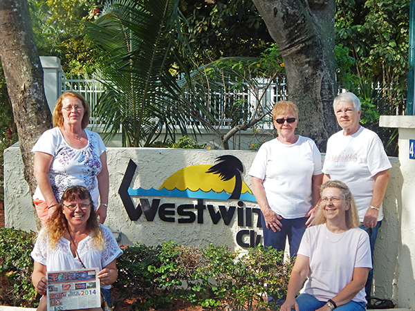 Traveling with the Post to the Bahamas was Roxann Perron and Debra Johnson on the left, and Jean Sutherland, Janice Harris and Jan Sutton on the right.