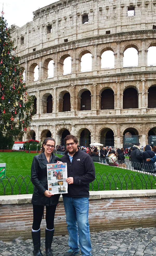 Hannah and Thomas Thomas outside of the Colosseum in Rome, Italy with The Post.