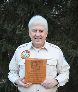 Ranger Steve Mueller with the Thomas Say Naturalist Award for Excellence.  Courtesy photo.