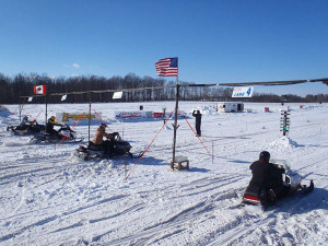 A similar snowmobile drag racing event was held a few years ago in Sand Lake.