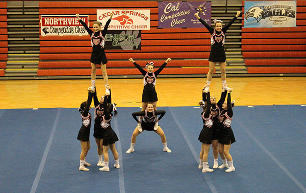 Cedar Springs JV Cheer took the conference championship.