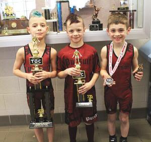 WMP finalists in the 7/8 age group, in the 52 lb wt class (from left to right) is Josh Vasquez, 1st Place; Luke Egan, 2nd Place; and Landon Foss, 3rd Place.