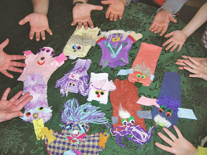 These puppets were created in puppet workshops leading up to the festival.