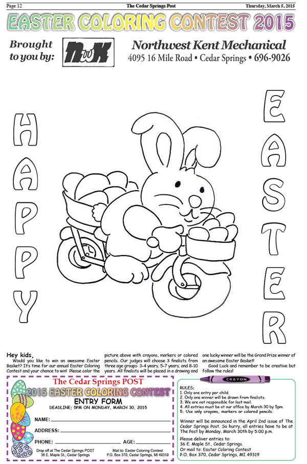 Easter Coloring Contest | Cedar Springs Post Newspaper