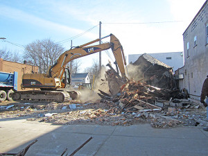The building at 44 N. Main was demolished on Wednesday, March 18, 2015.