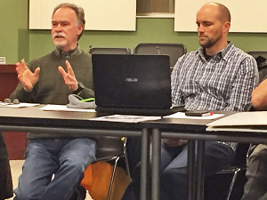 Mark Luttendon, of GVSU (left), and Josh Zuideveen, of South Peat Environmental (right) outlined their trout project to the Community Building Development Team.