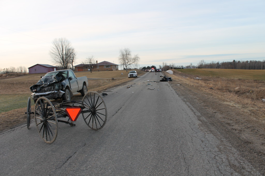 A man was injured when his horse and buggy veered into the path of a pickup truck early Thursday morning.