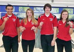 Red Hawk bowlers Jacob Cartwright, Rebecca Williams, Kyle Knarr and Allyson Marvel received medals for top 10 high scores.