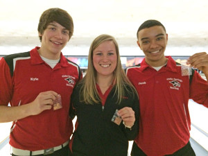 Red Hawk bowlers Kyle Knarr, Emma Schut and Jacob Cartwright are headed to state March 6 and 7.
