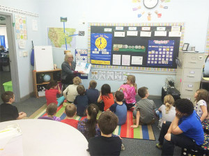 Mrs. Atkins reads to 2nd graders