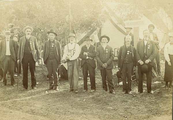 This photo shows a group of Civil War vets meeting here in Cedar Springs, around 1906, 41 years after the war was over. Not many vets were left at that time. Photo courtesy of Cedar Springs Historical Society.