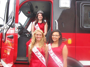 The Red Flannel Queen and Court and the Cedar Springs Fire Department  were both present at Community Night last week.