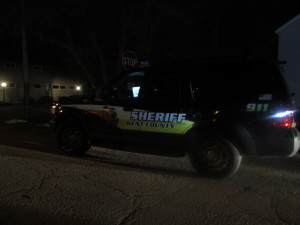 Cutline: Police swarmed the area of First and Cherry Street, after a meth lab was discovered in a home there.