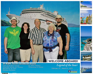 Troy and Jenni Vermeulen, Bruce and Myrna Chapman, and Rich Chapman pose for a pic as they board the Legend of the Seas cruise ship.