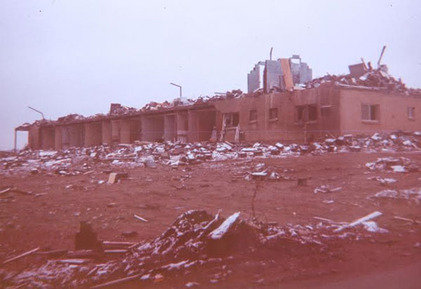 The Swan Inn was demolished in the April 11, 1965 Palm Sunday tornado. The building was at the intersection of Alpine Avenue and 6 Mile Road. One of the guests was fatally injured. Photo credit: Walter L. Nelson, via The National Weather Service.
