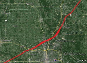 This photo shows the path of the 1965 Palm Sunday Tornado, from Allendale to Cedar Springs. Photo from the National Weather Service.
