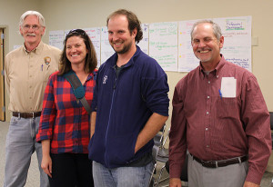 From left to right: Mark Weaver (Superintendent of the North Country Trail), Luke Jordan (intern with the National Park Service who has actually hiked the entire trail), Andrea Ketchmark (NCTA In Lowell), Charles Vannette (president West MI Chapter NCTA). Photo by Tom Noreen.