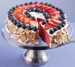 Red, White and Blue Watermelon Cake
