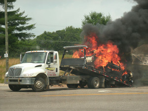This SUV caught fire while up on the wrecker. Photo courtesy of Gary Welch.