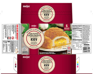 Check to see if you have this Meijer brand stuffed chicken kiev in your freezer or any labeled Barber Foods. They are under recall.