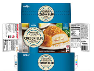 Check to see if you have this Meijer brand stuffed chicken cordon bleu in your freezer or any labeled Barber Foods. They are under recall.