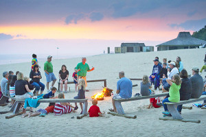 Veteran Explorer Guide Mike Latus enthralls campers with his fireside storytelling at Warren Dunes State Park.