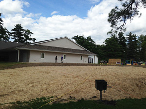 A new 20 x 36-foot pavilion will soon fill this spot in Morley Park. Post photo by J. Reed.