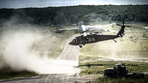 A UH-60 Black Hawk transports 125th Infantry Regiment A Company Detroit, Michigan on a training mission on July 23, 2015 during Exercise Northern Strike 2015 at Grayling Air Gunnery Range in Grayling, Michigan. Exercise Northern Strike 2015 is a joint multi-national combined arms training exercise conducted in Michigan. (U.S. Air National Guard photo by Master Sgt. Scott Thompson/released)