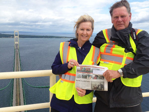 Dean and Kristie Wall, of Sand Lake, traveled to the top of the Mackinac Bridge tower and got a great photo with the Post last summer.