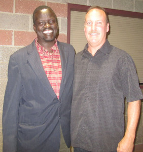 Deng Jongkuch with Cedar Springs resident Tim Bauer, who visited Deng's village and others last year while on a medical mission trip to Sudan.