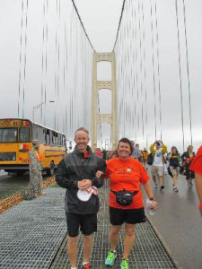 Sari Swets, 50, who suffers from MS, walked the whole 222 miles to the Bridge.