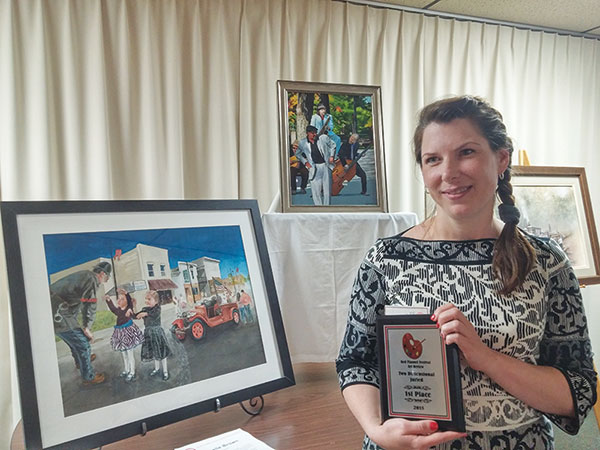 Michelle Brown won first place for her 2D artwork, which is being shown at Independent Bank.