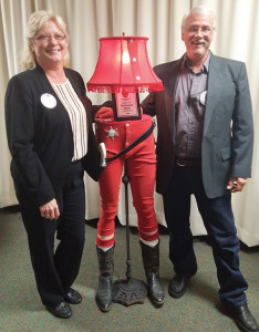 Red Flannel Theme winner Dale Longcore(right) on display at B&B Beauty.