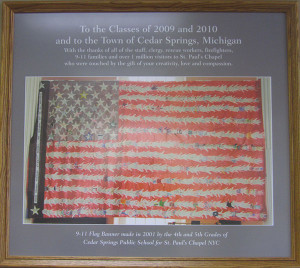 Cedar View students made this special flag, shown in the photo, which featured their hands, with words of kindness. It hung in St. Paul's Chapel, and then was moved to the Smithsonian Institute. Post photo by J. Reed.