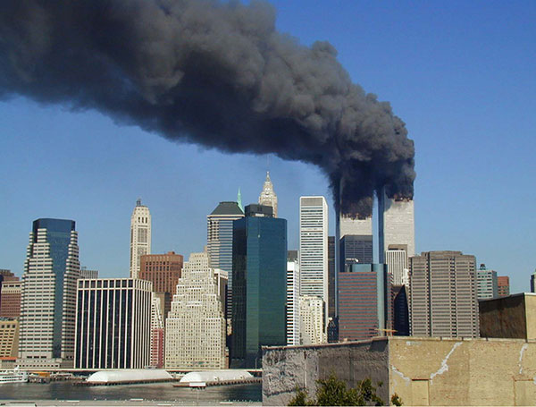 The World Trade Center towers were one of the targets in the 2001 terrorist attack on U.S. soil.