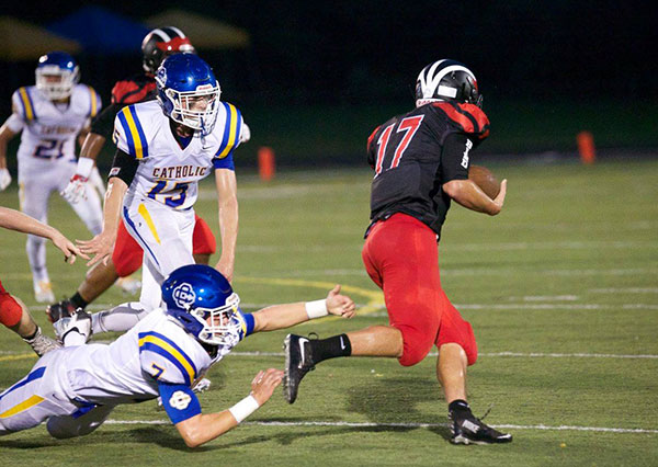 Cedar Springs senior Cameron Umphrey scored the lone touchdown for the Red Hawks against Catholic Central, after grabbing a pass one-handed. Photos by K. Alvesteffer/R. LaLone