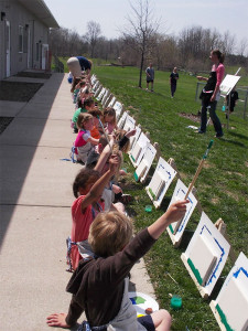 CTA Creates took advantage of the great weather to take their lesson outdoors.