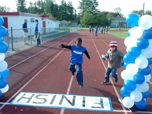 The Walk-A-Thon included obstacles for the students, including a finish line they got to cross after each lap.