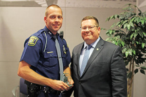 Trooper James Tompkins, pictured left, of the Michigan State Police Lakeview Post received the MADD award.