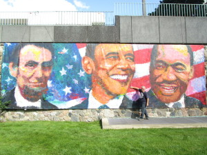 This piece by artist Jerry Berta, titled The Conversation, asks what would these three American leaders talk about?