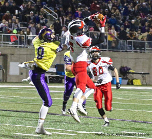 Senior Blake Fisher snagging an interception in the second quarter against Greenville. He ran it back 85-yards for a touchdown.