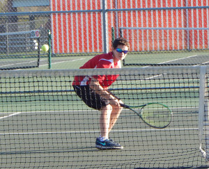 Red Hawks #3 doubles, Tim Shovan, setting up for a return shot.