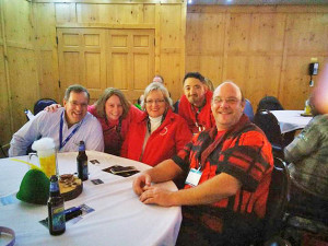 Red Flannel board members at MFEA convention. Left to right: Mark Laws, Brynadette Powell, Michele Tracy, Rick Knapp and Steve McBride.