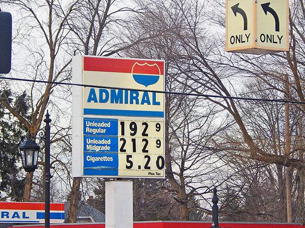 Gas was at $1.92/gallon at press time Wednesday in Cedar Springs. Post Photo by L. Allen.