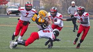 The Red Hawks take down a Zeeland East player in Saturday's playoff loss.