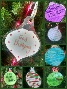 A few ornaments the High School students made of their wishes for the world.
