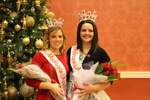 Hannah Rasch (left), of Conklin, was chosen as first runner up, and Sara Reisinger (right), of Freeland, is the new 2016 Michigan Apple Queen.