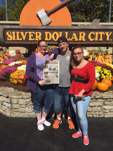 Belinda, Mike, and Autumn Sanderson, of Cedar Springs, at the entrance to Silver Dollar City, Branson, Missouri.