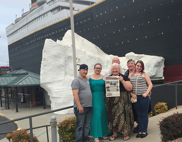Mike and Belinda Sanderson, of Cedar Springs, Bruce and Myrna Chapman, of Sand Lake, and Beverly Chapman and her daughter Demetria, of Sand Lake, outside of the Titanic Museum, Branson, Missouri.